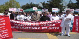 Hastane bahçesinde 'eğitim' protestosu